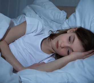 Innocent Girl In Bedroom Having Sleeplessness Night
